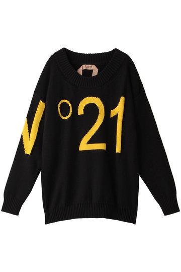 N°21 ヌメロ ヴェントゥーノ ビッグロゴニットプルオーバー ブラック