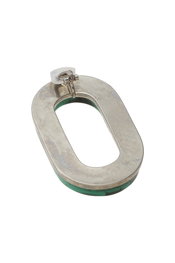 アデル ビジュー/ADER.bijouxのRETRO オーバルイヤリング(ブラック×グリーン/RE-1103E)