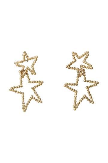 アデル ビジュー/ADER.bijouxのCUTSTEEL スターダブルフープピアス(ゴールド/RE-1114P)