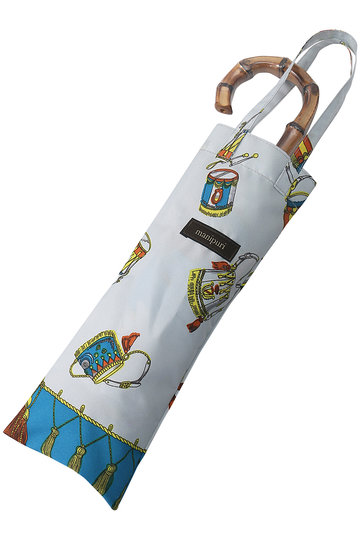 マニプリ/manipuriのスカーフ柄晴雨兼用折り畳み傘(ブルー(Festival)/A-2)