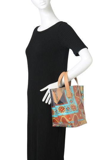 マニプリ/manipuriのスカーフ柄PVCトートバッグ(オレンジ/Flower)
