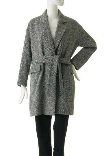 マディソンブルー/MADISONBLUEのヘリンボーンベルテッドロングジャケットコート(ツイードブラック/MB184-2023)