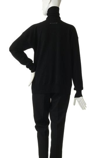 エムエム6 メゾン マルジェラ/MM6 Maison Margielaのハイネックニットコンビカットソー(ブラック+ブラック/S52HA0129)