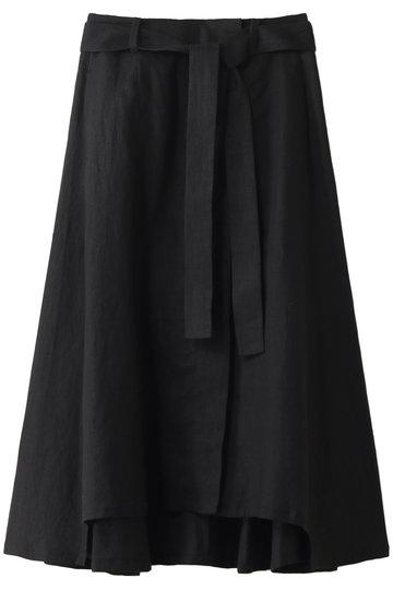 ジェット/JETの【JET LOSANGELES】【ウォッシャブル】ラップデザイン リネンスカート(ブラック/C80-76002)