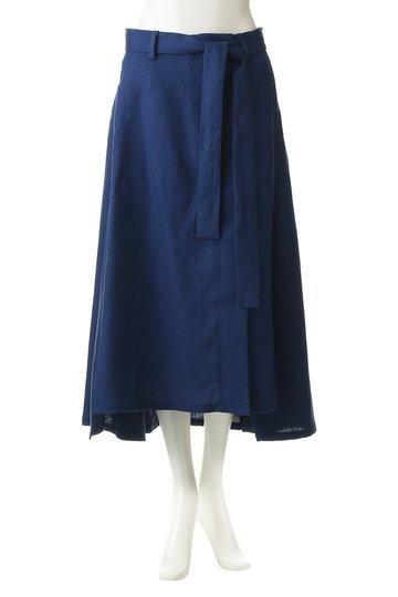 ジェット/JETの【JET LOS ANGELES】【ウォッシャブル】ラップデザイン リネンスカート(ブルー/C80-76002)
