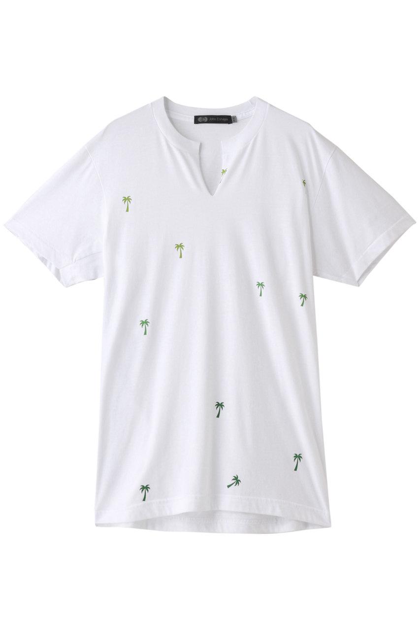 ジェット/JETの【JET John Eshaya】VスリットプリントTシャツ(ホワイト/C80-16318)