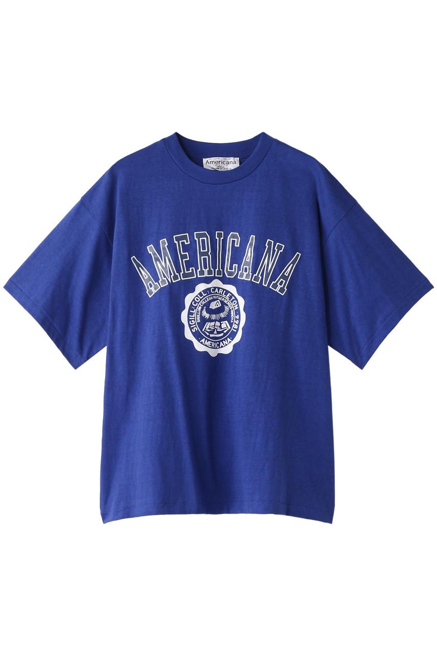 Americana アメリカーナ Americana カレッジTシャツ(ヴィンテージ加工) ロイヤルブルー