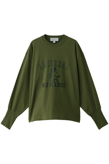 Americana アメリカーナ ビッグサイズプリントロングスリーブTシャツ(MUSTANGS) オリーブグリーン