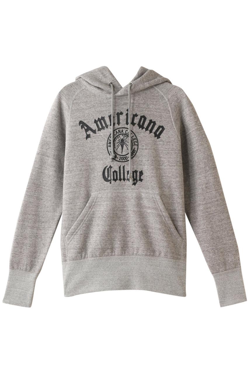 Americana アメリカーナ カレッジロゴ スーピマ裏毛ラグランフードスウェット トップグレー