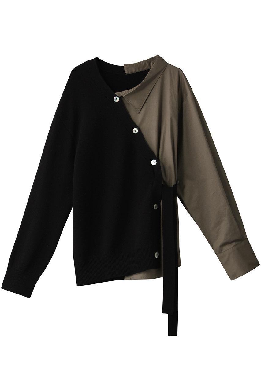 ルシェルブルー/LE CIEL BLEUのシャツパネルカーディガン(ブラック/23S61208)