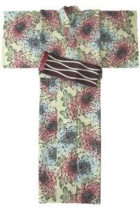 <ELLE SHOP>【掲載】【堀井】源氏物語ゆかた 紅型調 若草色画像