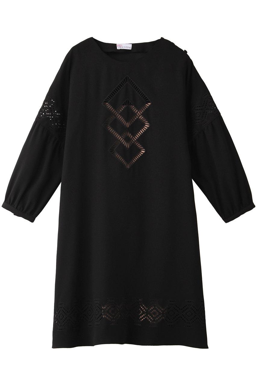 レッド ヴァレンティノ/RED VALENTINOのA-JOUR幾何刺しゅうドレス(ブラック/TR3VA11H4T7)
