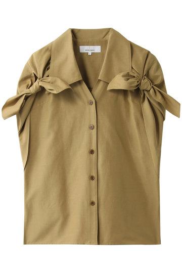 アキラナカ/AKIRANAKAのデザインスリーブ シルクコットンシャツ(ベージュ/AR1938BE)