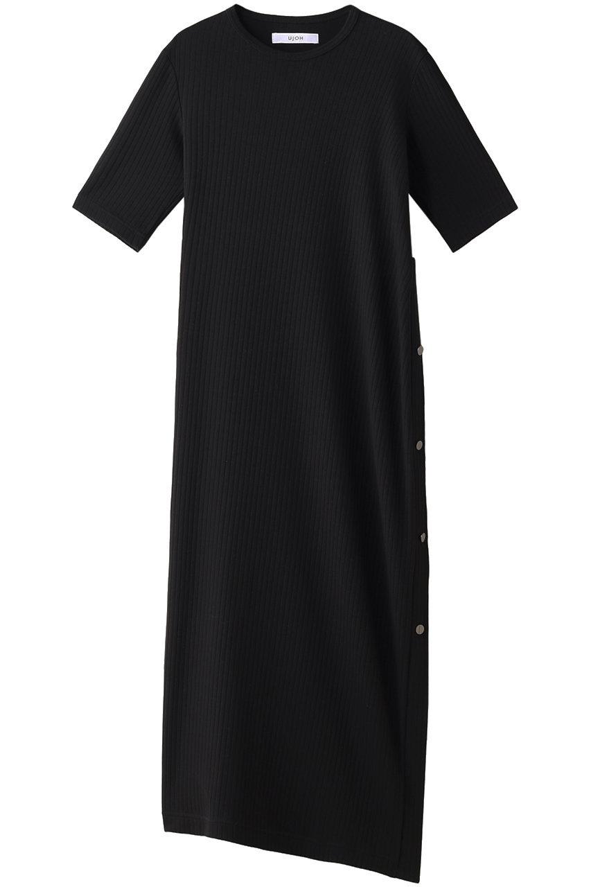 ウジョー/UJOHのコットンリブサイドスリットボタンロングTシャツ(ブラック/U791-T02-007)