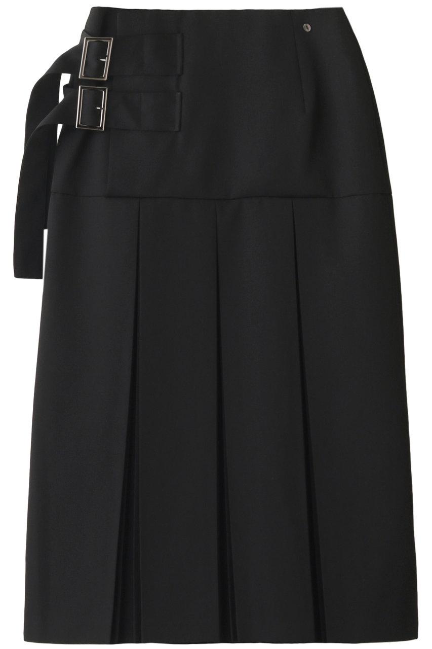 ウジョー/UJOHのウールギャバジンWベルトプリーツスカート(ブラック/U793-S05-100)