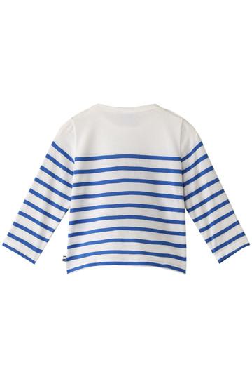 プチバトー/PETIT BATEAUの【Baby】プリントマリニエール長袖Tシャツ(オフホワイト/ブルー/44397)
