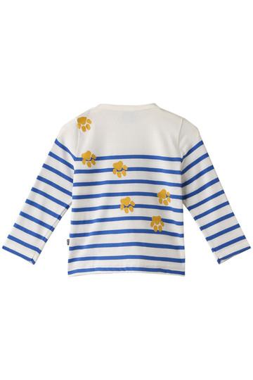 プチバトー/PETIT BATEAUの【Baby】プリントマリニエール長袖Tシャツ(オフホワイト/ブルー/44746)
