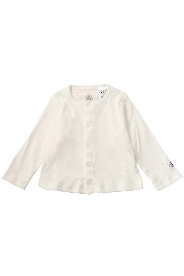 プチバトー/PETIT BATEAUの【Baby】2×2リブ編みカーディガン(オフホワイト/46210)