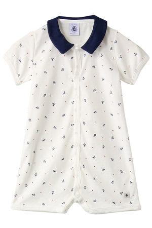 bd3c1aadf7106 プチバトー PETIT BATEAUの Baby 衿つきプリントショートロンパース(F)