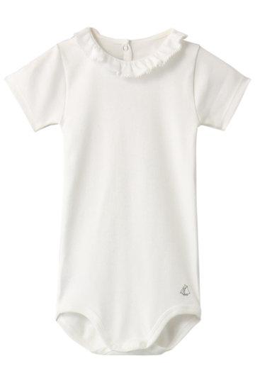 PETIT BATEAU プチバトー 【Baby】フリル衿つき半袖ボディ オフホワイト