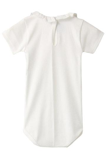 プチバトー/PETIT BATEAUの【Baby】フリル衿つき半袖ボディ(オフホワイト/48441)