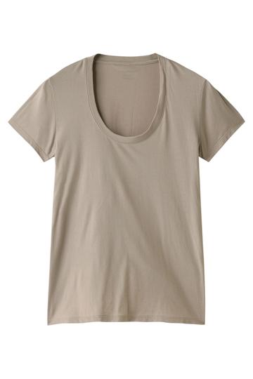 フォーコーナーズ/+FOUR CORNERSの半袖Tシャツ(Uネック)(ベージュ/470405)