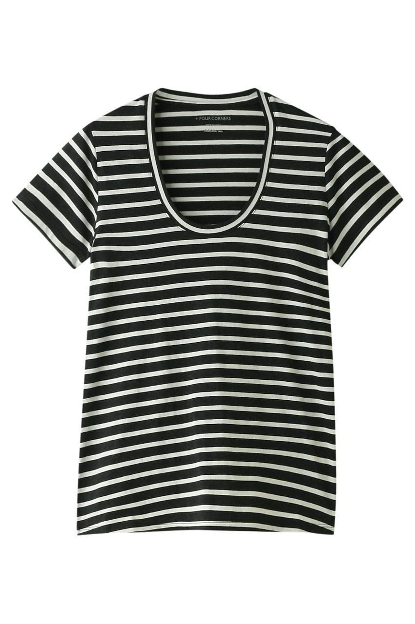 フォーコーナーズ/+FOUR CORNERSの半袖Tシャツ(Uネック)(オフ×チャコール/480404/470405)