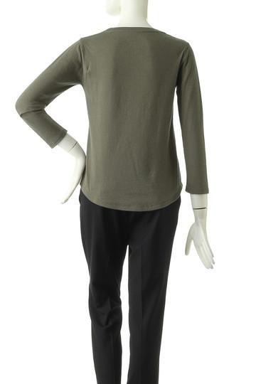 フォーコーナーズ/+FOUR CORNERSの9分袖 Tシャツ(ボートネック)(カーキ/460419)
