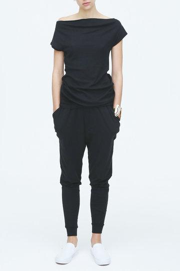 フォーコーナーズ/+FOUR CORNERSのハーフミラノオフショルダーTシャツ(ブラック/480401)