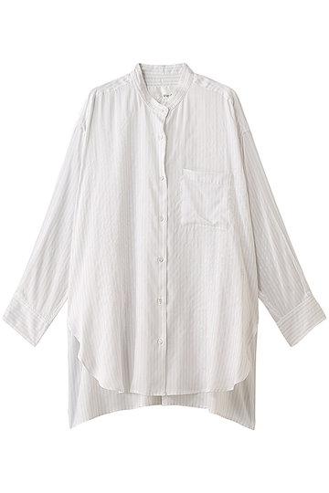 ウィム ガゼット/Whim Gazetteのストライプビッグシャツ(ホワイト/71129534)