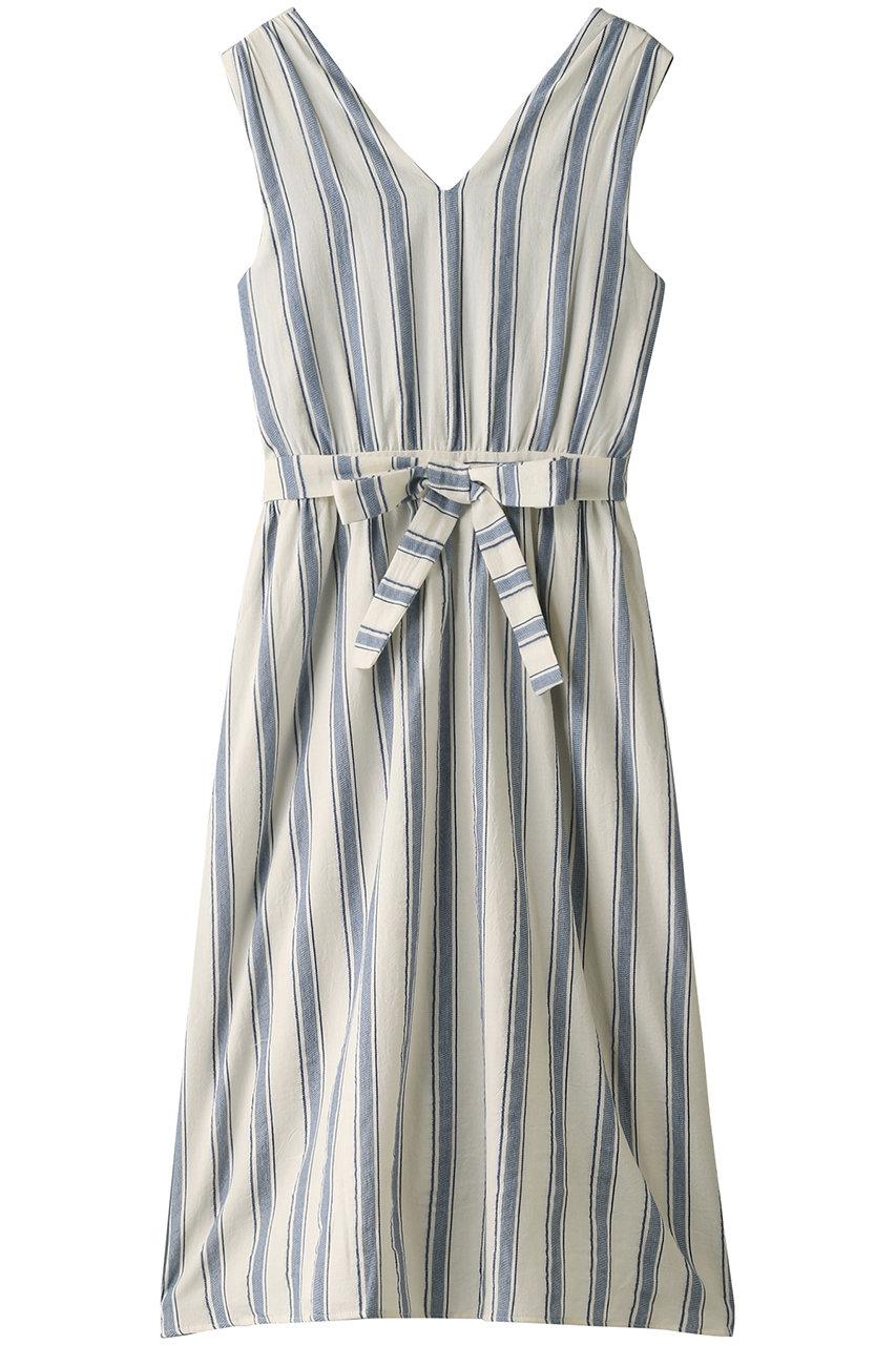 エリオポール/HELIOPOLEの【Maison Guillemette】バックシャンストライプワンピース(ブルー/DRESSES-LAGO)