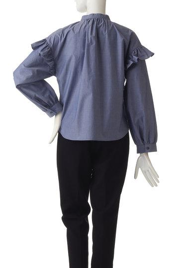 エリオポール/HELIOPOLEのシャンブレーポプリン バンドカラーフリル袖ブラウス(ロイヤルブルー/4191-1704A)
