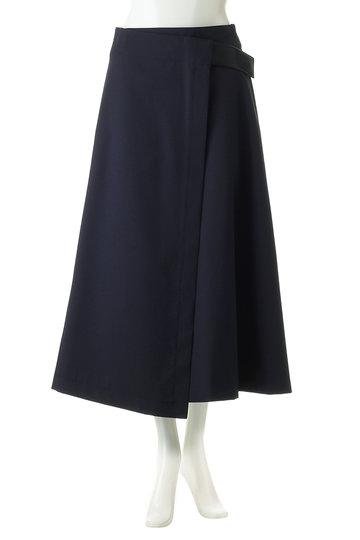 エブール/ebureのポリエステルウール ラップスカート(ネイビー/2910500084/19SSSK04)
