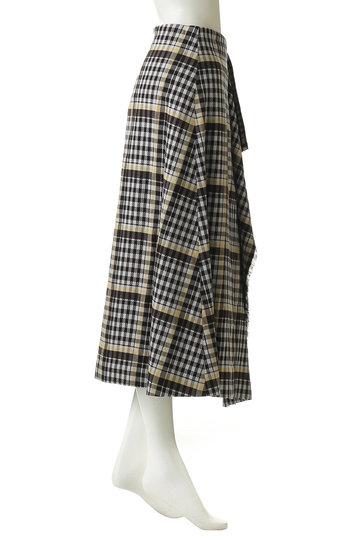 エブール/ebureのリネンコットンチェック巻きスカート(ブラウン/2910500148/19SSSK14)