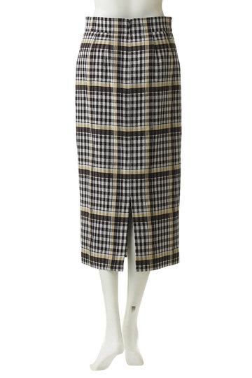 エブール/ebureのリネンコットンチェックタイトスカート(ブラウン/2910500149/19SSSK15)