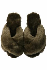 <ELLE SHOP> SALE【20%OFF】EMU Australia エミュ オーストラリア MAYBERRY シープスキンサンダル オリーブ