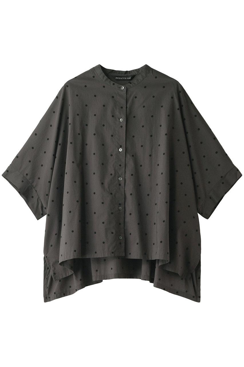 ミズイロインド/mizuiro indのドットプリントバンドカラーワイドシャツ(チャコールグレー/2-239151)