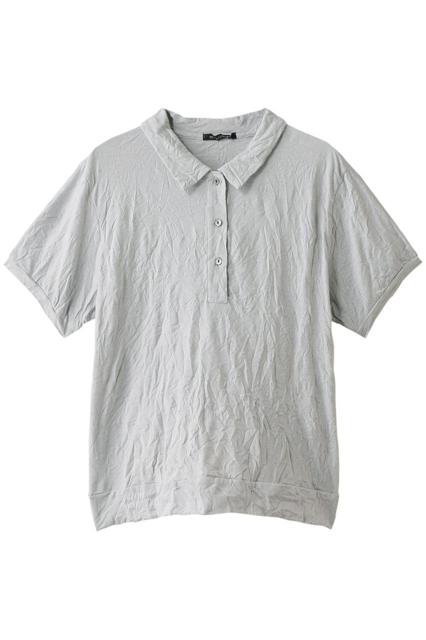 SALE 【30%OFF】 mizuiro ind ミズイロインド ウォッシャープリーツポロシャツ ライトグレー