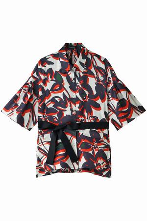 花柄ベルト付きシャツジャケット パリゴ/PARIGOT