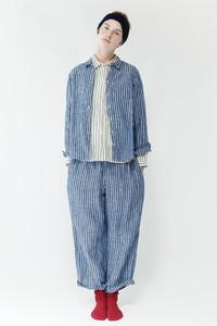 <ELLE SHOP> nest Robe ネストローブ 先染めストライプシャツ ネイビー