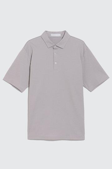 ビー ピー キュー シー/BPQCの【MEN】ニットサッカー素材ポロシャツ(グレー/BP91CBR303)