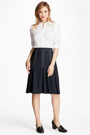 ウールクレープ インバーテッドプリーツスカート ブルックス ブラザーズ/Brooks Brothers