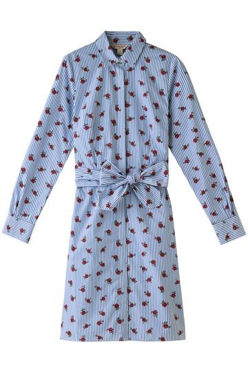 SALE【50%OFF】【Red Fleece】コットンポプリン ストライプ ローズプリント シャツドレス ブルー/ホワイト