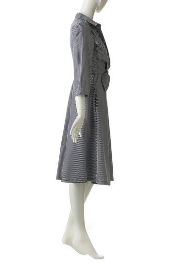 ブルックス ブラザーズ/Brooks Brothersのコットンポプリン ストライプ タイウエスト 3/4スリーブシャツドレス(ネイビー/ホワイト/66719000)