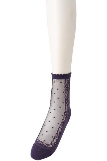 カタクラシルク/Katakura Silkのシールスーソックス(ブラック×パープル/LT857)