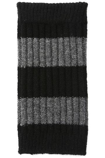 カタクラシルク/Katakura Silkのカシミヤラム ショートウォーマー ボーダー柄(ブラック×ダークグレー/WC131)