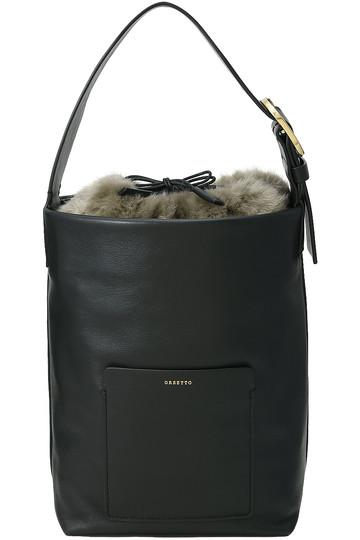 SALE 【50%OFF】 ORSETTO オルセット SECCHIO フェイクファー巾着付きショルダーバッグ ブラック