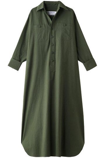 ブルーバード ブルバード/BLUEBIRD BOULEVARDのコットンウールウェザーシャツドレス(Iライン)(グリーン/12RFADRE-03C)