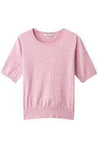<ELLE SHOP> シルク+コットンクルーネックプルオーバー ピンク