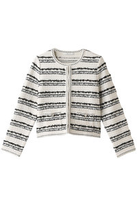 <ELLE SHOP> コットンポリエステルツイードジャケット ホワイト